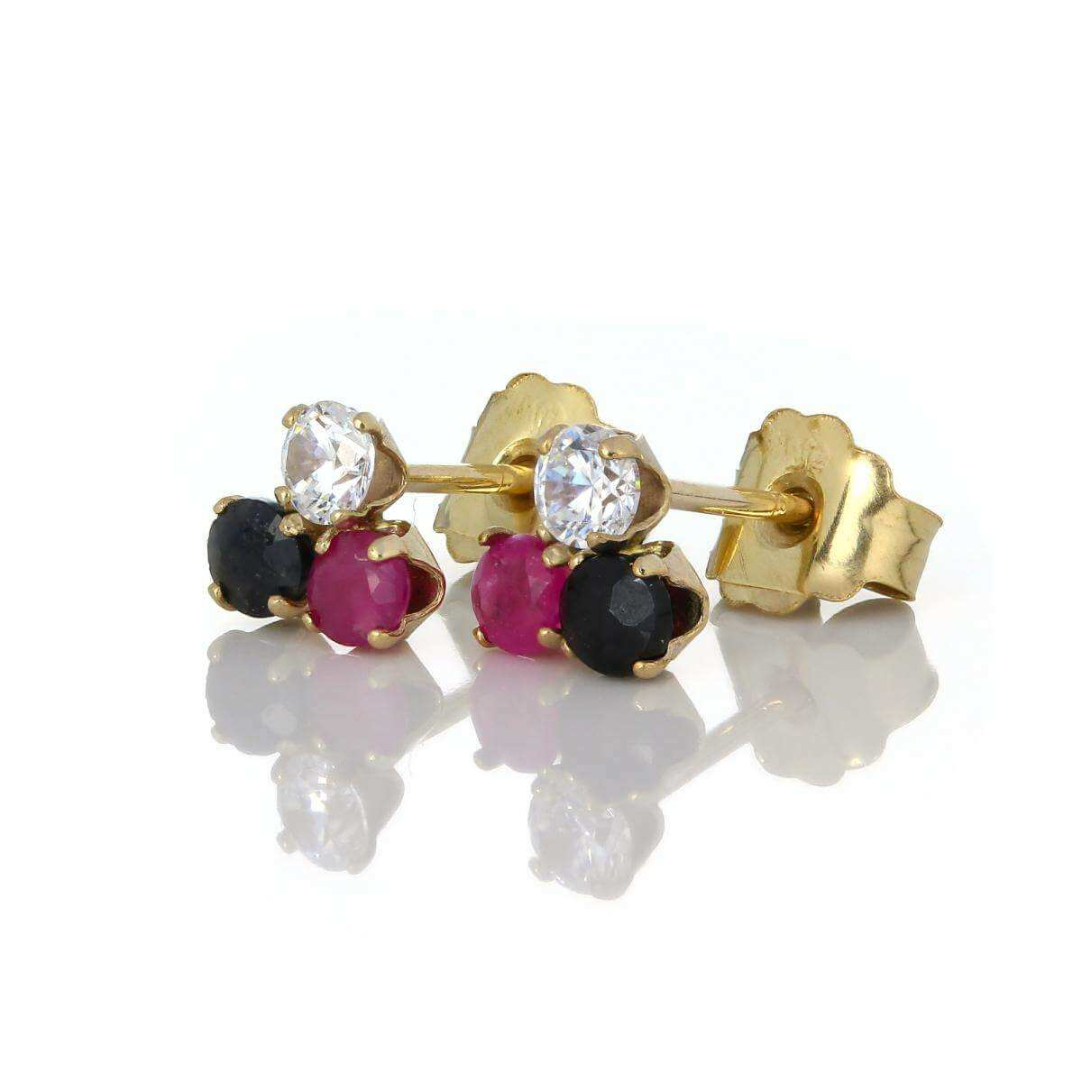 9ct Gold & 2.5mm Sapphire Ruby & Clear CZ Crystal Stud Earrings
