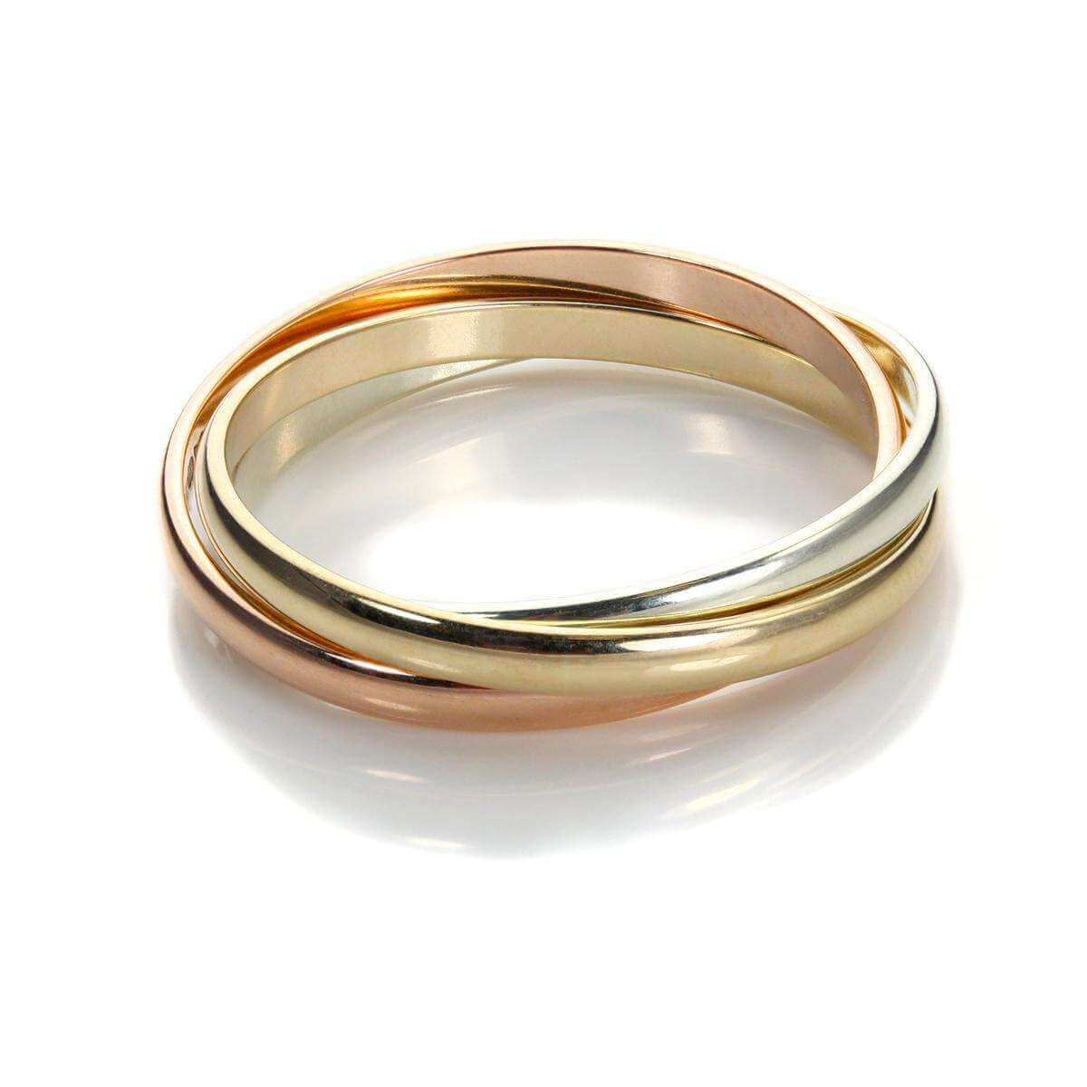 9ct Mixed Gold 2mm Russian Wedding Ring - Size R