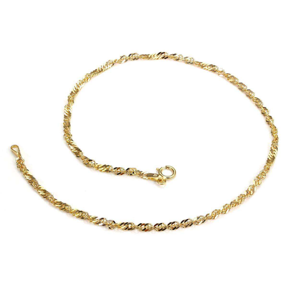 9ct Yellow Gold Singapore Chain Anklet 8FQLIxj