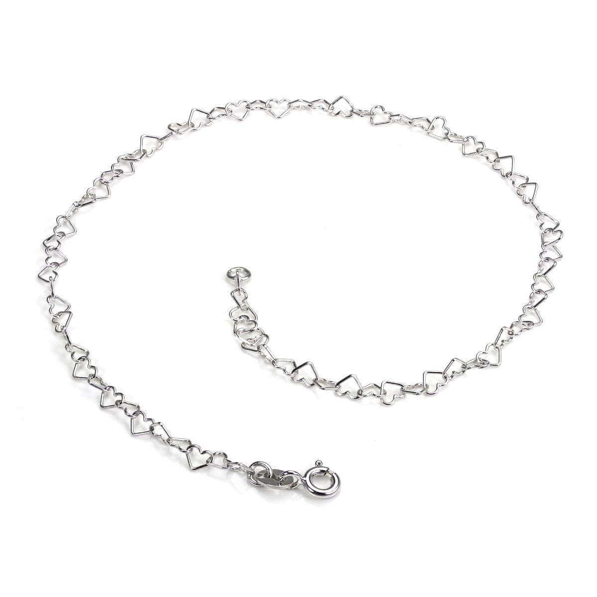 9ct White Gold Open Hearts Chain Anklet
