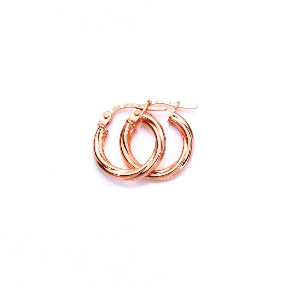 9ct Rose Gold 10mm Twisted Sleeper Hoop Earrings