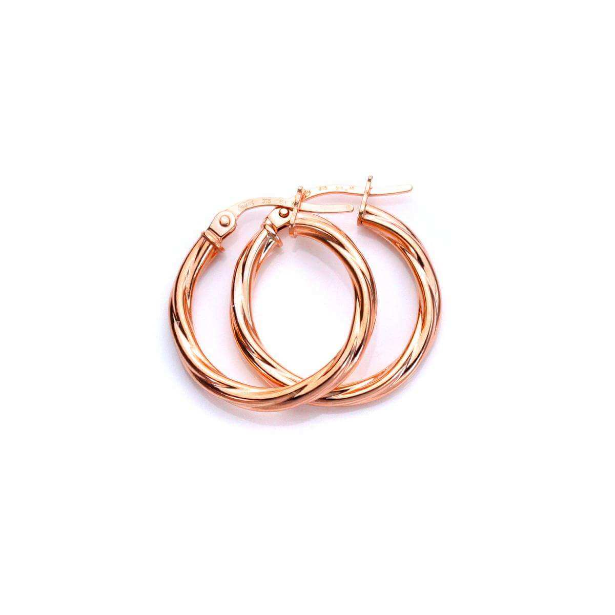 9ct Rose Gold 15mm Twisted Sleeper Hoop Earrings