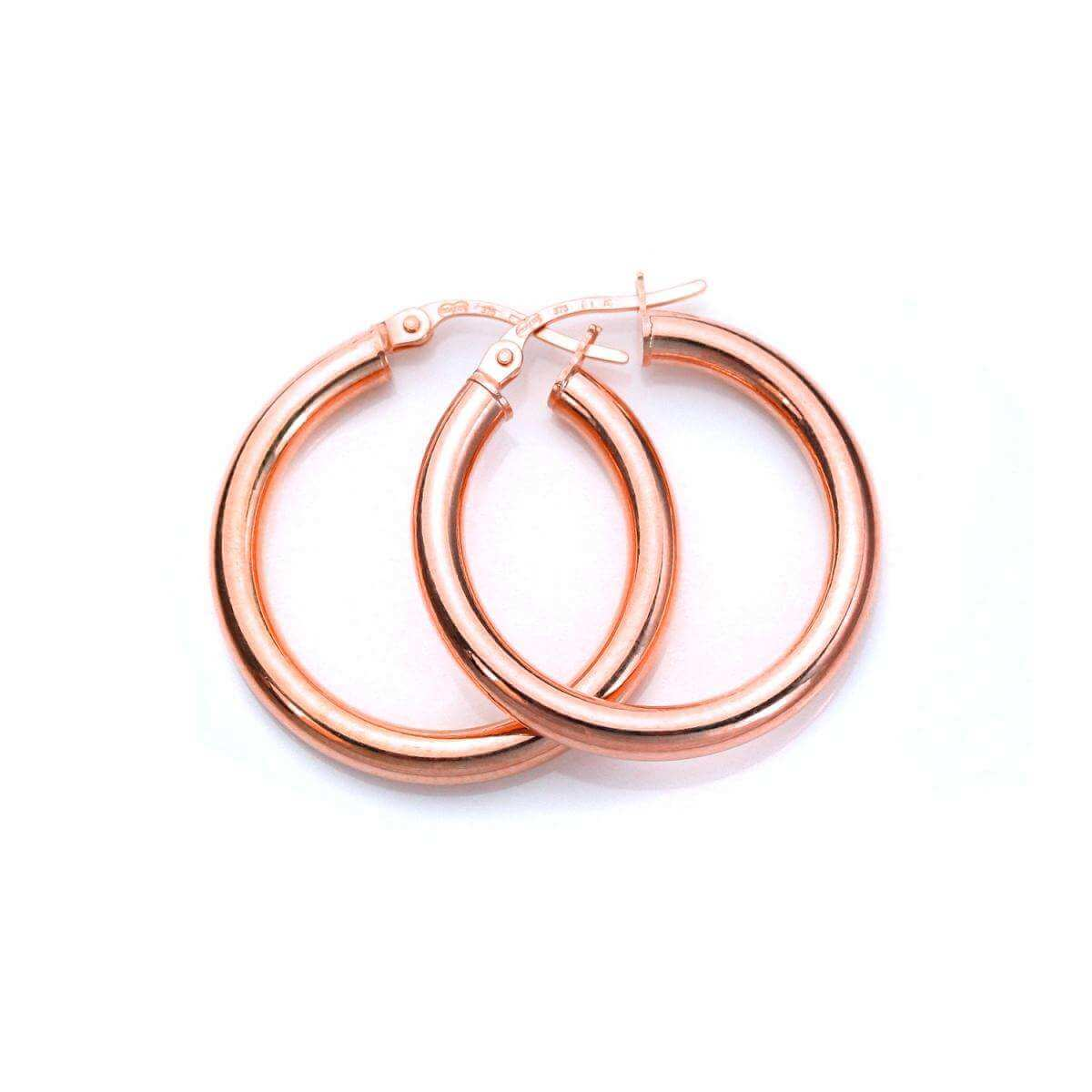 9ct Rose Gold 15mm Plain Sleeper Hoop Earrings
