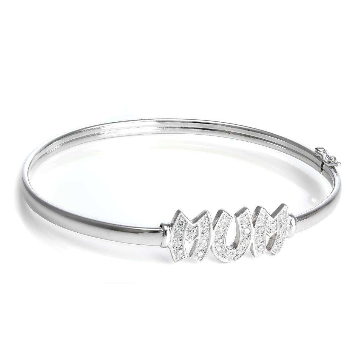 Sterling Silver CZ Crystal Mum Hinged Adult Bangle