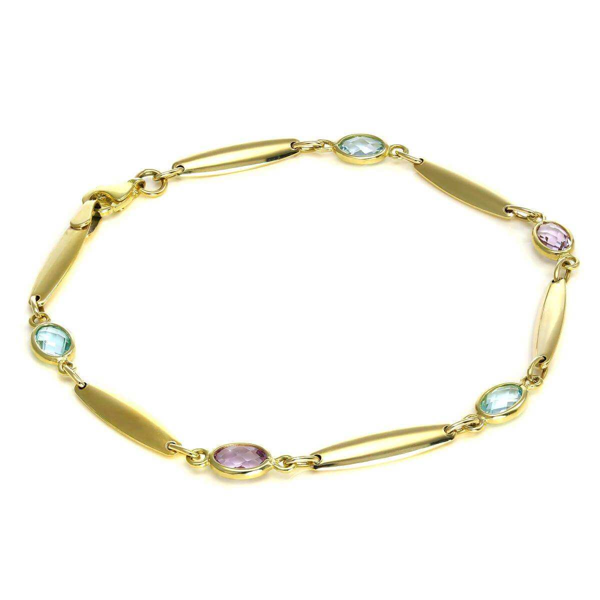 9ct Gold Bar & Oval CZ Crystal Bracelet