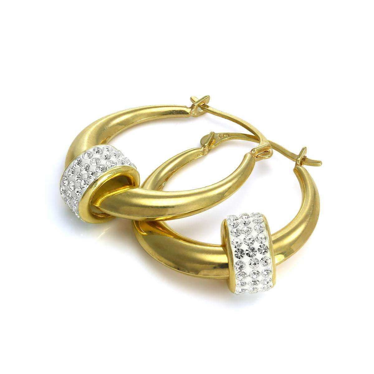 9ct Yellow Gold Creole Earrings with CZ Crystal Bead