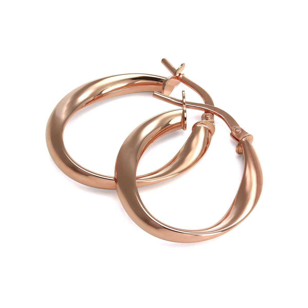 9ct Rose Gold Twisted Creole Hoop Earrings
