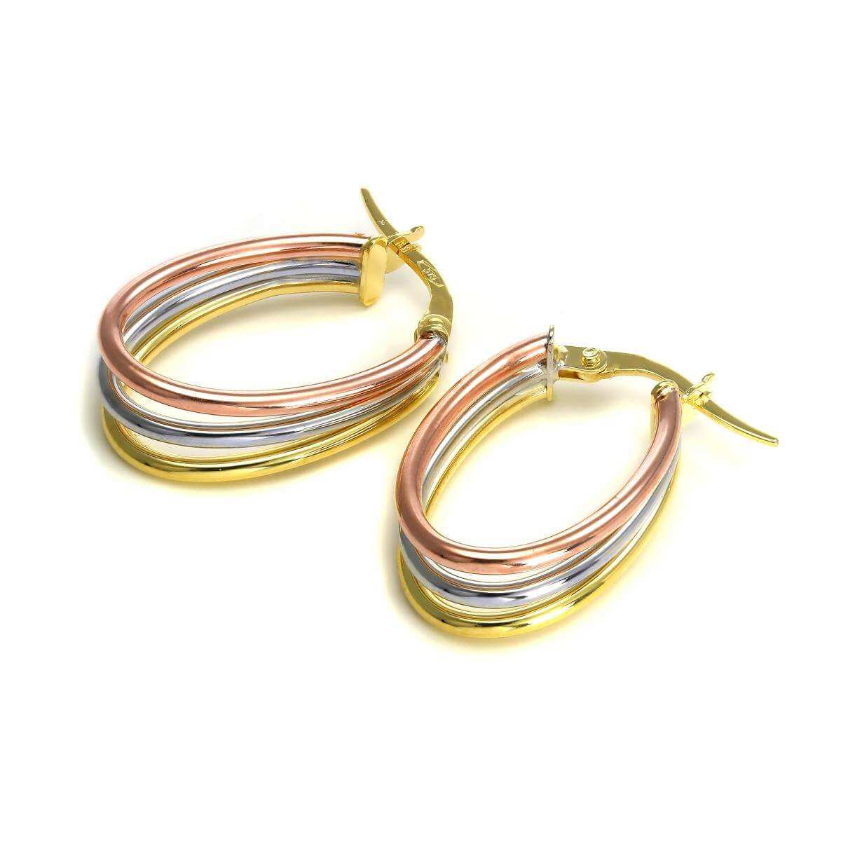 9ct Mixed Gold Triple Band Hoop Earrings