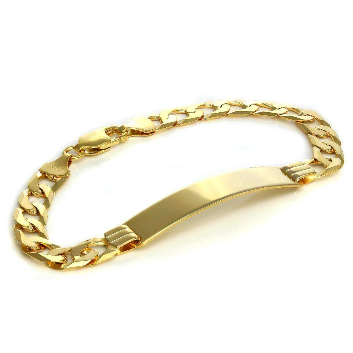 9ct Gold Heavy Curb Gents ID Plate Bracelet 7 & 8 Inches