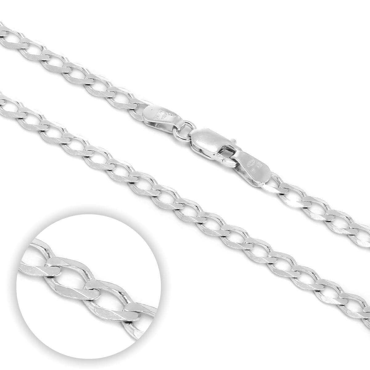 Sterling Silver Thick Curb Chain Bracelet & Necklace 7 - 28 Inches
