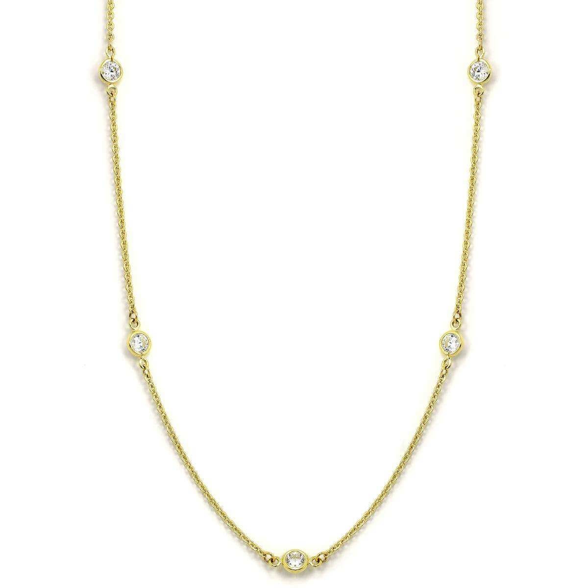 9ct Gold & CZ Crystal Fine Belcher Chain 17 Inch Collarette Necklace