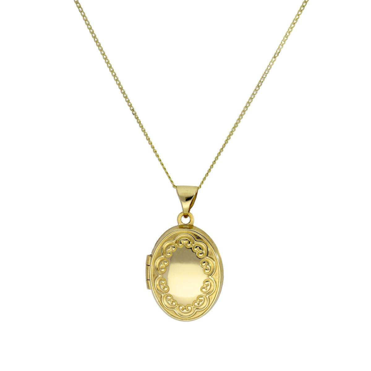 9ct Gold Oval Locket on Chain with Floral Design on Chain 16 - 18 Inches