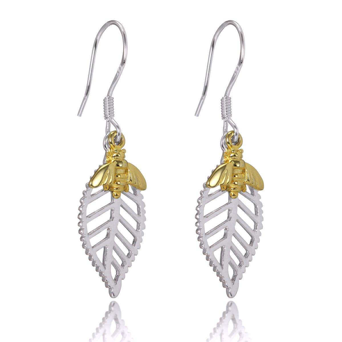 Abella Bee Earrings in Sterling Silver & Plated Gold