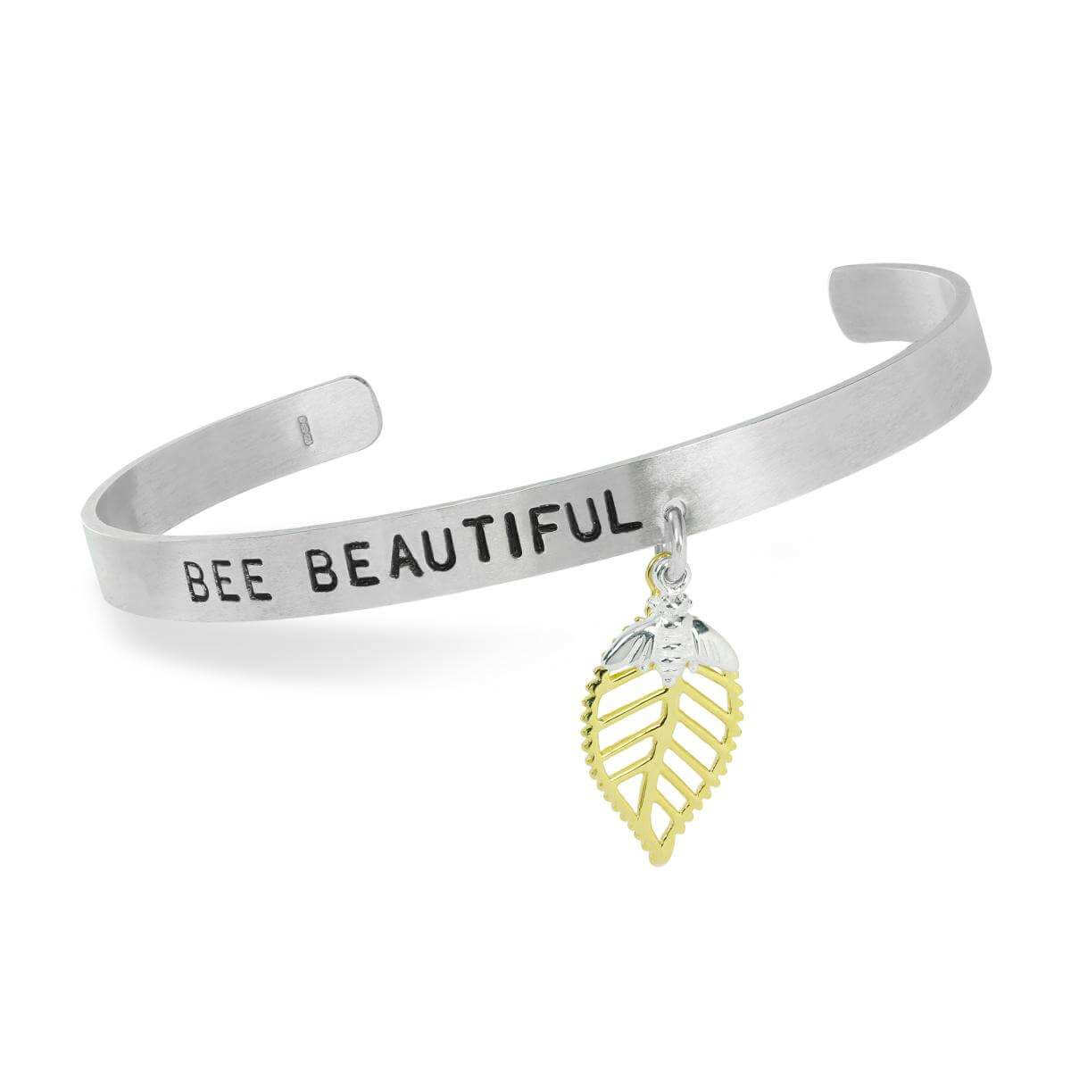 Abella Bee Beautiful Hand Stamped Bangle in Sterling Silver