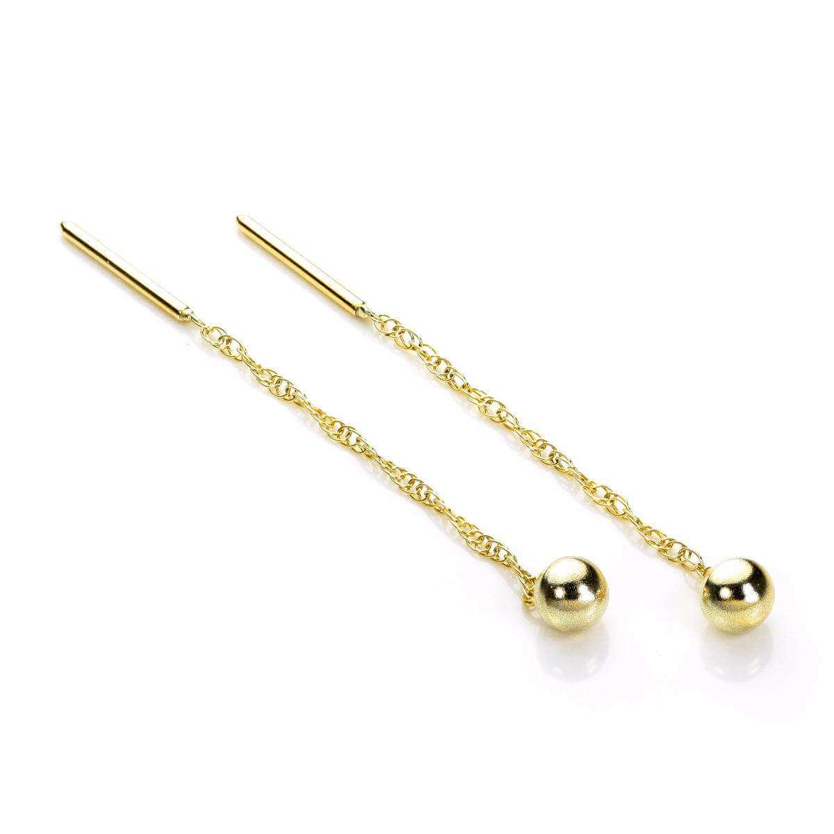 9ct Yellow Gold 4mm Ball Pull Through Earrings
