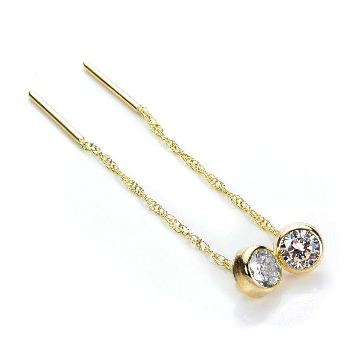 9ct Yellow Gold Clear CZ 5mm Round Pull Through Earrings