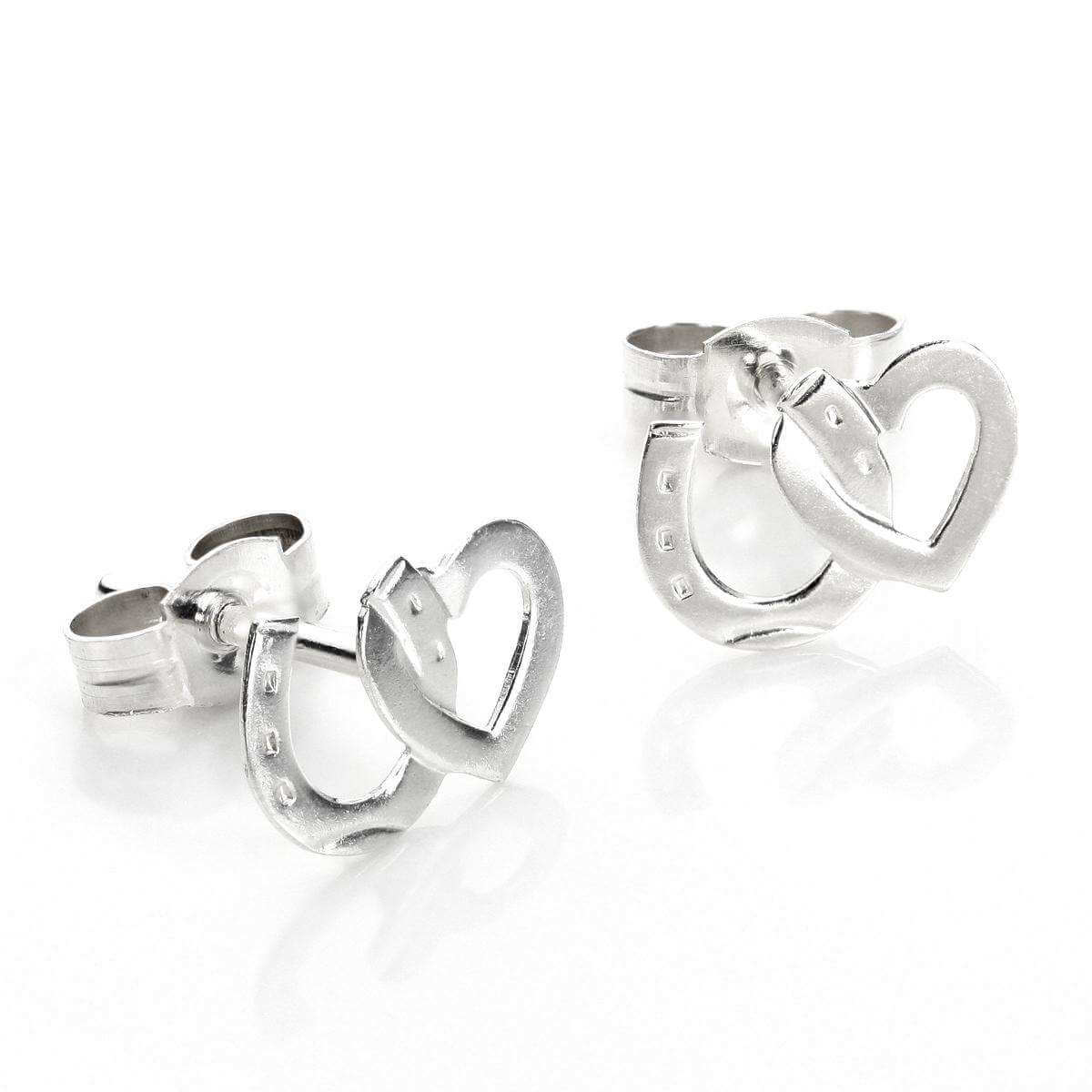 Sterling Silver Heart & Horseshoe Stud Earrings