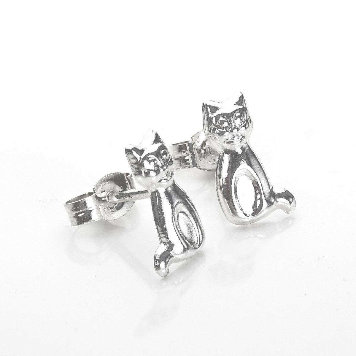 Sterling Silver Sitting Cat Stud Earrings