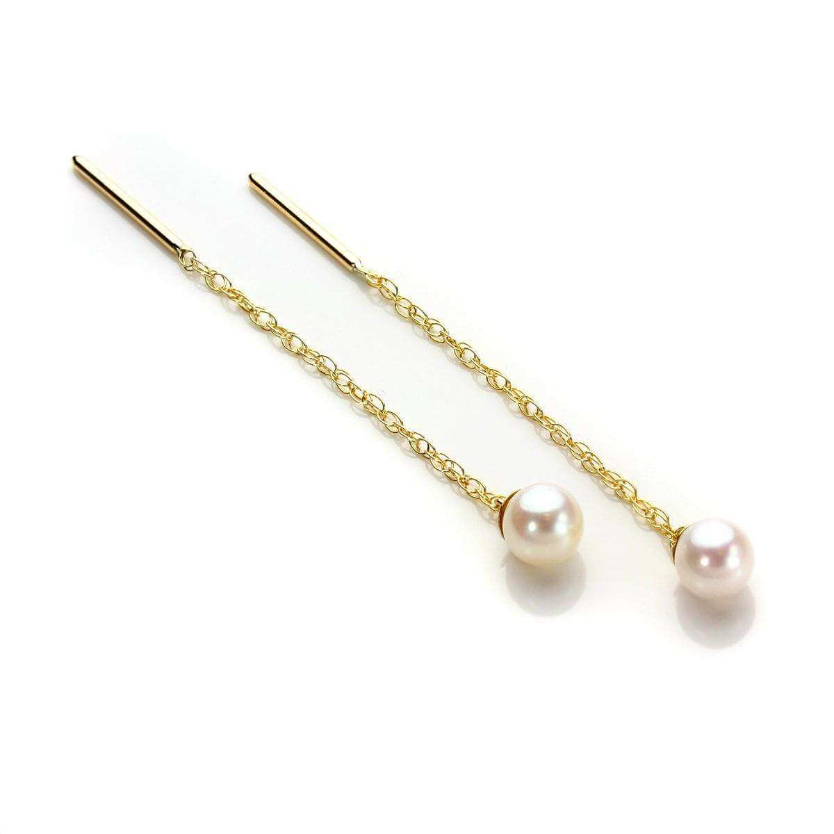 9ct Yellow Gold Pearl Pull Through Earrings
