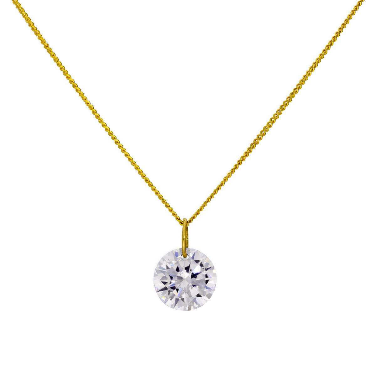 9ct Gold & Large Clear CZ Crystal Pendant Necklace 16 - 20 Inches
