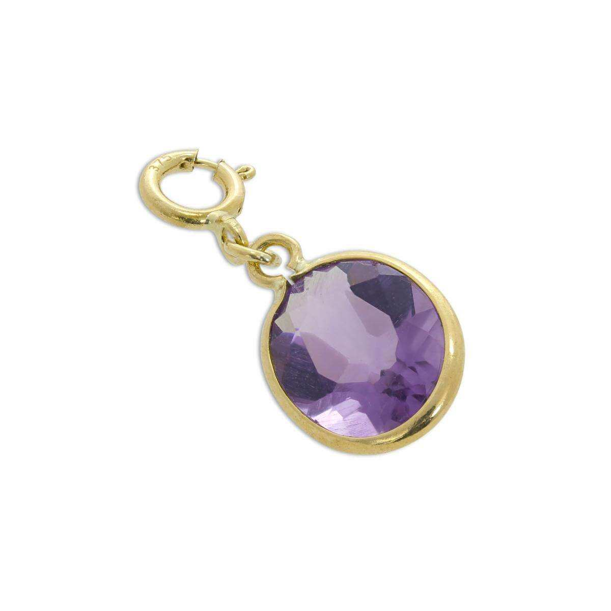 9ct Gold & Amethyst CZ Crystal Oval Clip on Charm