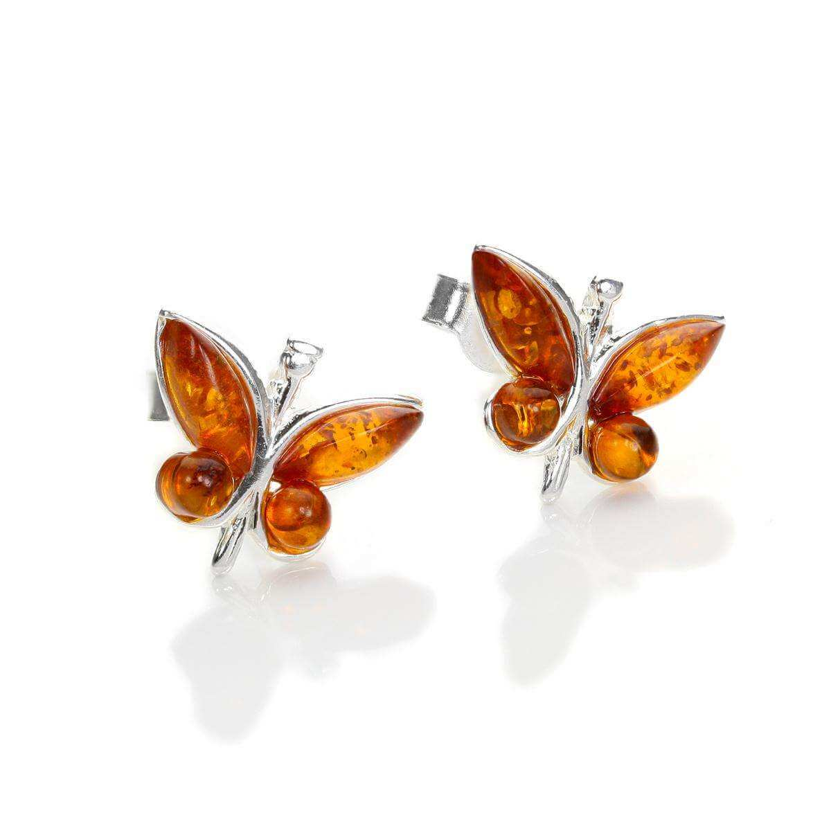 Sterling Silver & Baltic Amber Butterfly Stud Earrings