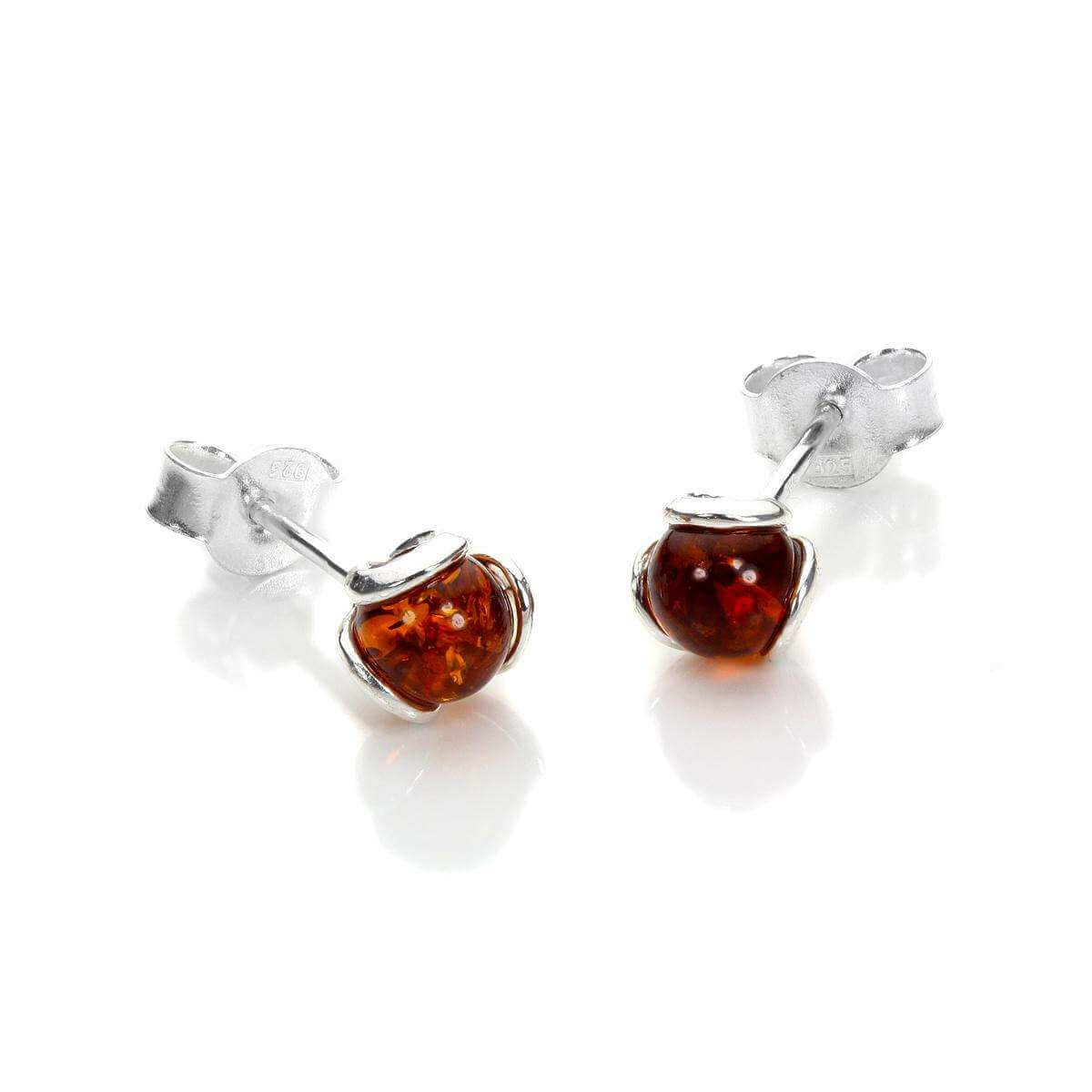 Sterling Silver & Baltic Amber Flower Stud Earrings