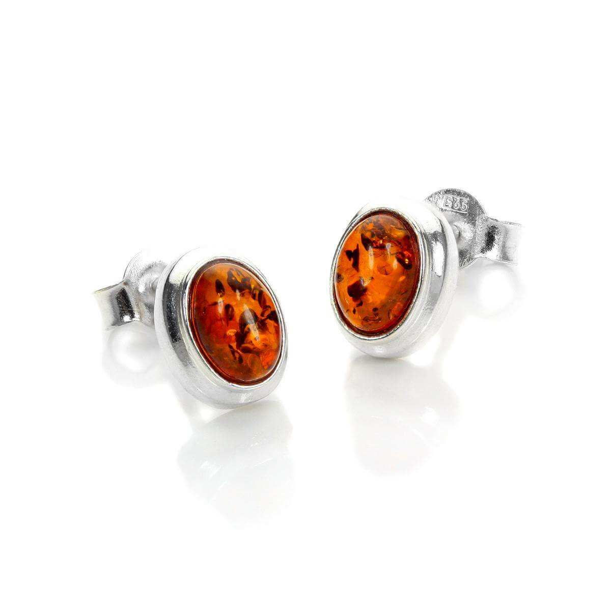 Sterling Silver & Baltic Amber Oval Stud Earrings