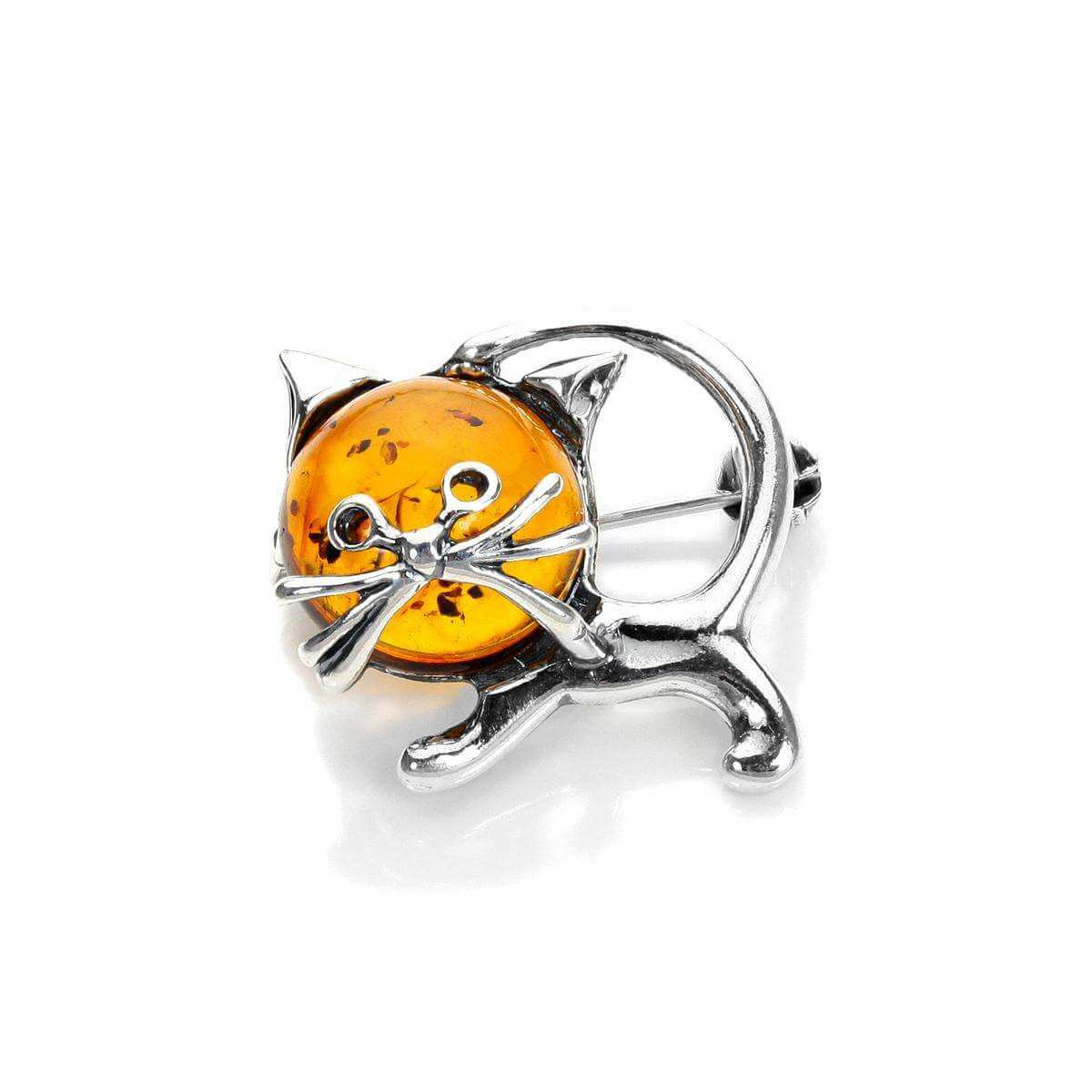 Sterling Silver & Baltic Amber Cat Brooch