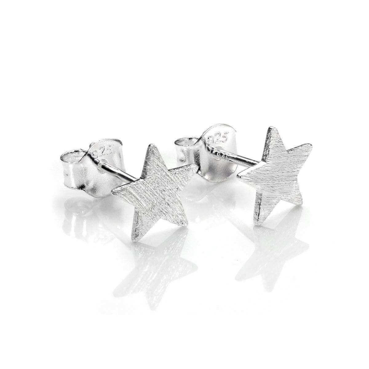 Sterling Silver Brushed Flat Star Stud Earrings