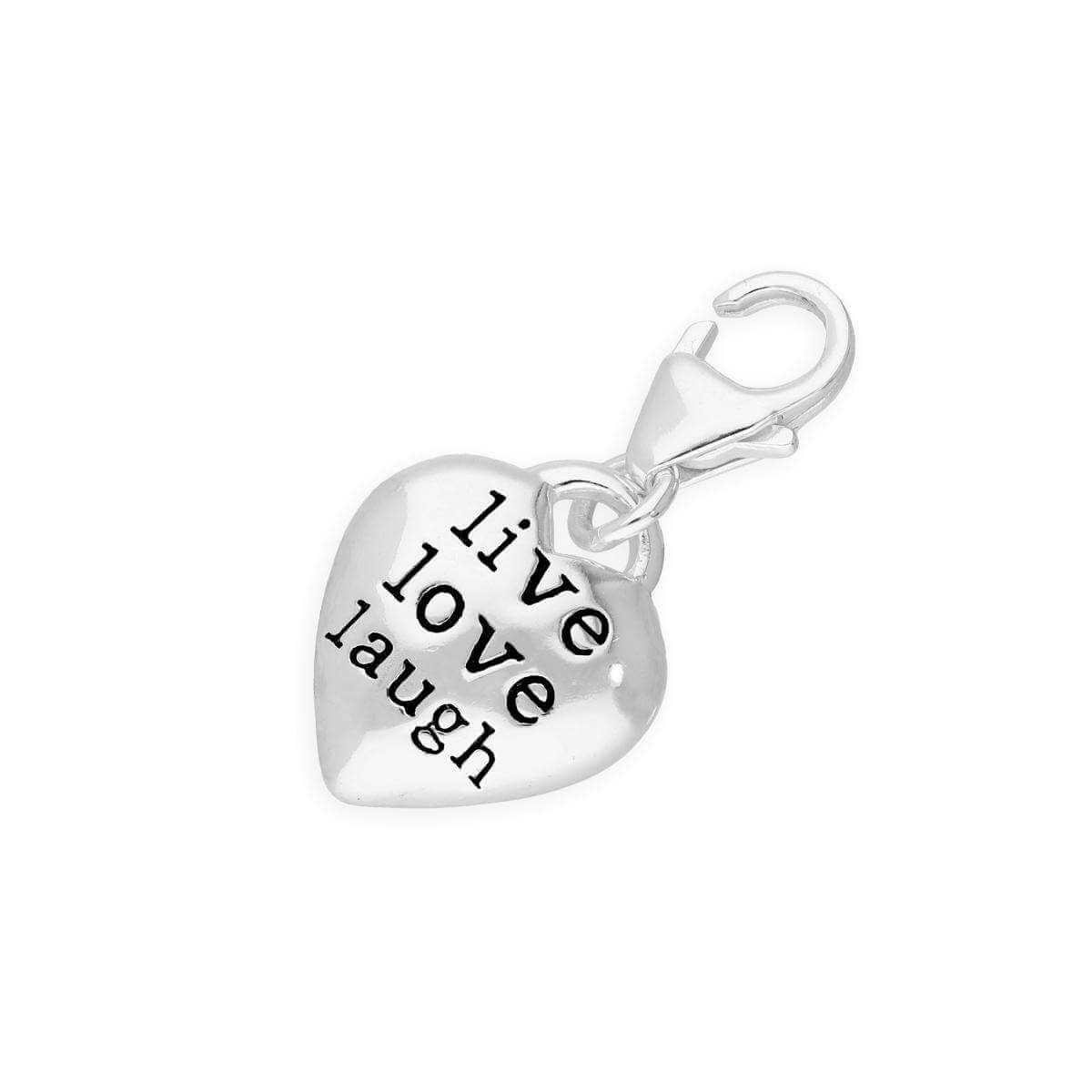 TheCharmWorks Hollow Sterling Silver Live Laugh Love Heart Pebble Clip on Charm