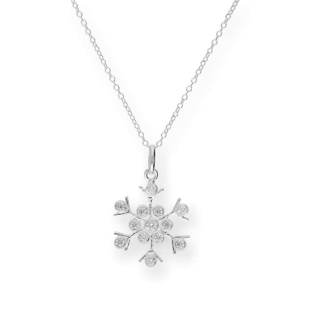 Large Sterling Silver & CZ Crystal Snowflake 18 Inch Necklace