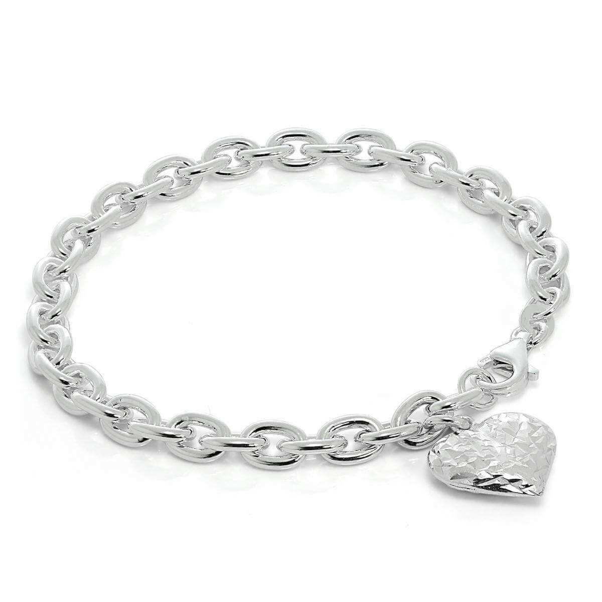Heavy Sterling Silver Charm Bracelet with Diamond Cut Puffed Heart Charm