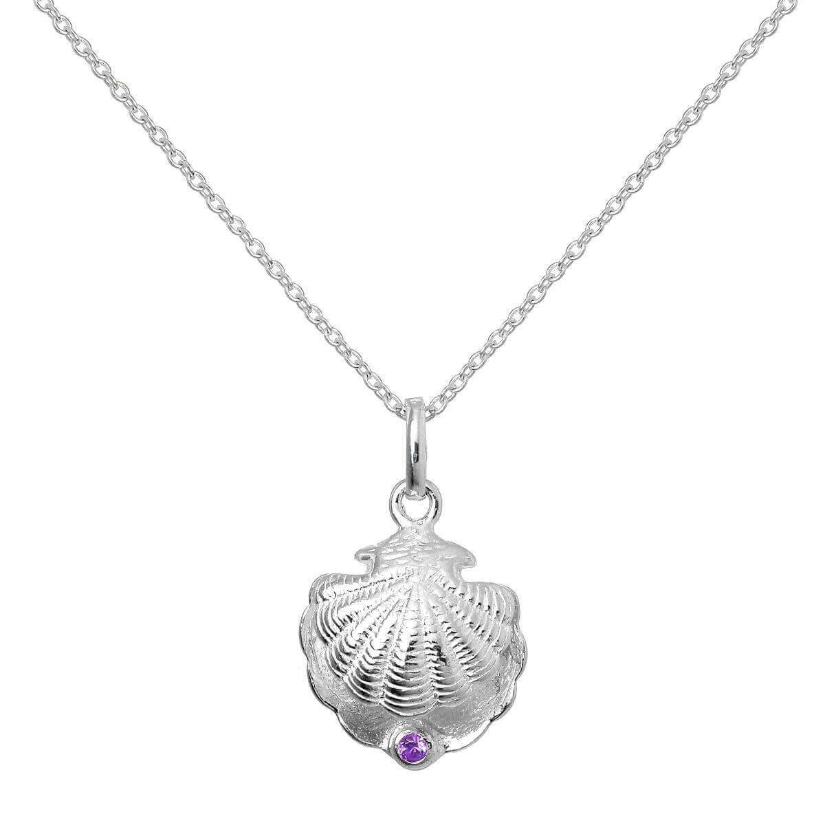 Sterling Silver Oyster Shell with CZ Crystal Amethyst Birthstone Necklace - 20 Inches