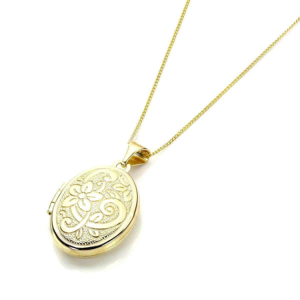 9ct Yellow Gold Floral Engraved Oval Locket