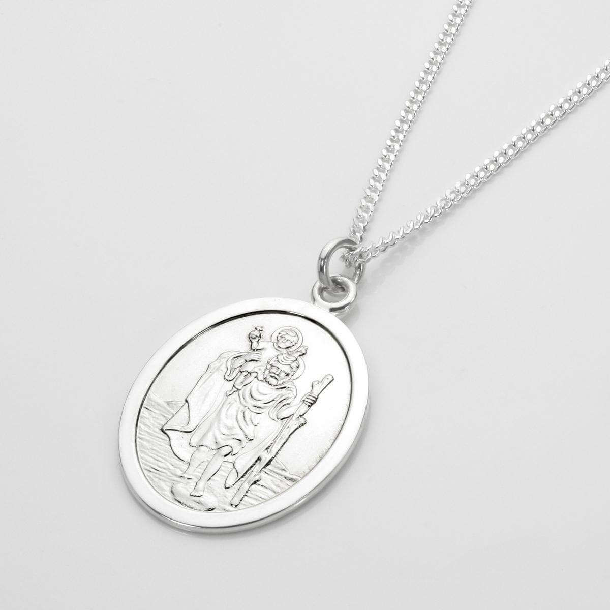 Sterling Silver Oval Saint Christopher Pendant - 16 - 24 Inches
