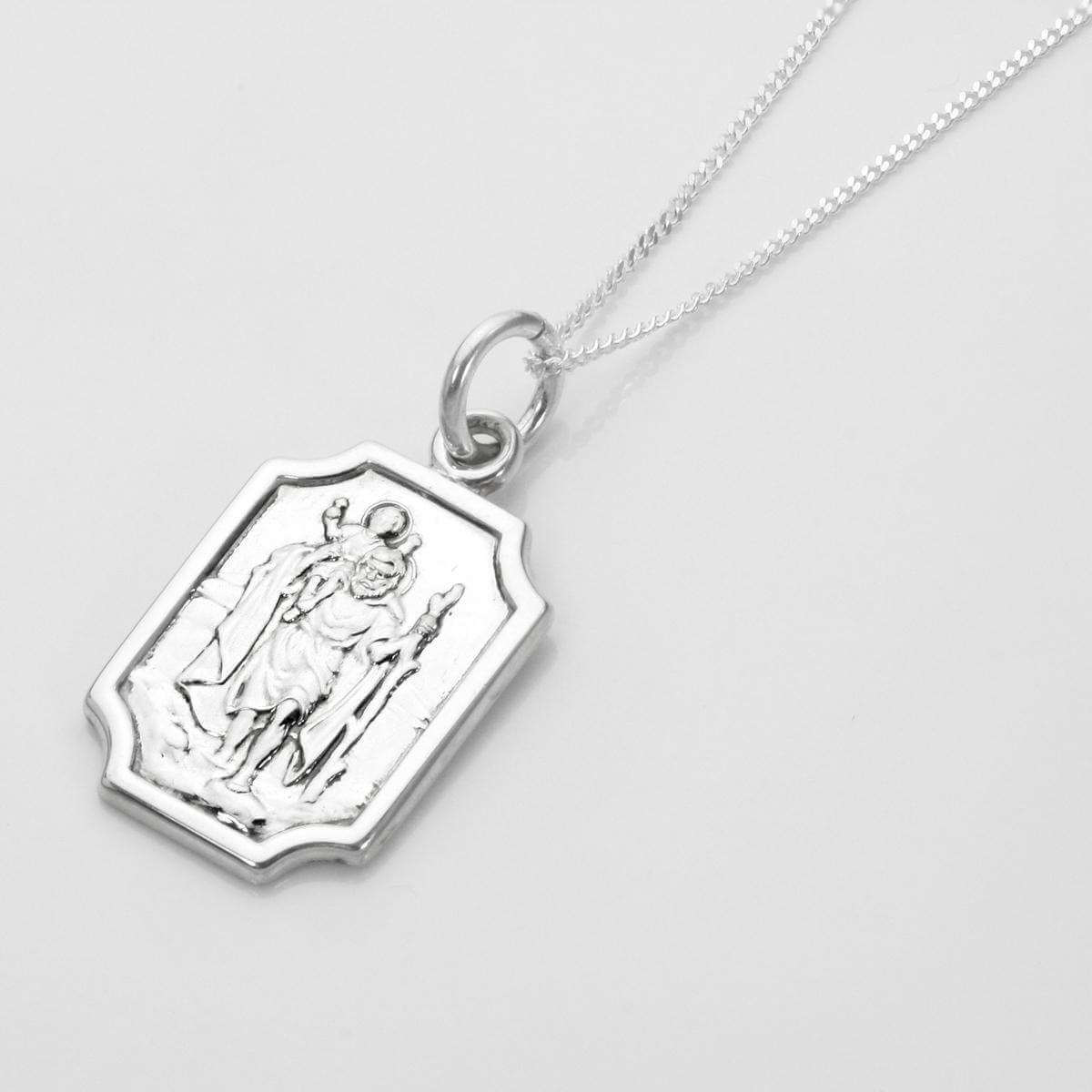 Sterling Silver Small Saint Christopher Plaque Pendant - 16 - 22 Inches