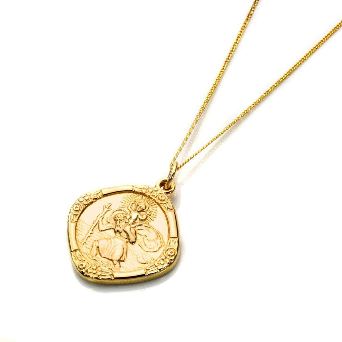 9ct Gold Medium Reversible Saint Christopher Pendant - 16 - 18 Inches