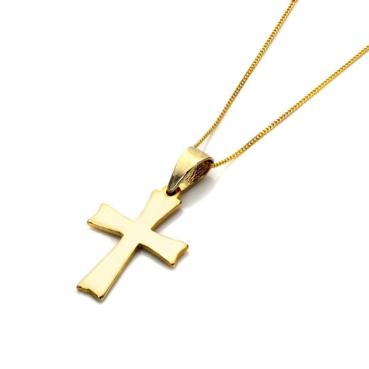 9ct Gold Cross Necklace - 16 - 18 Inches