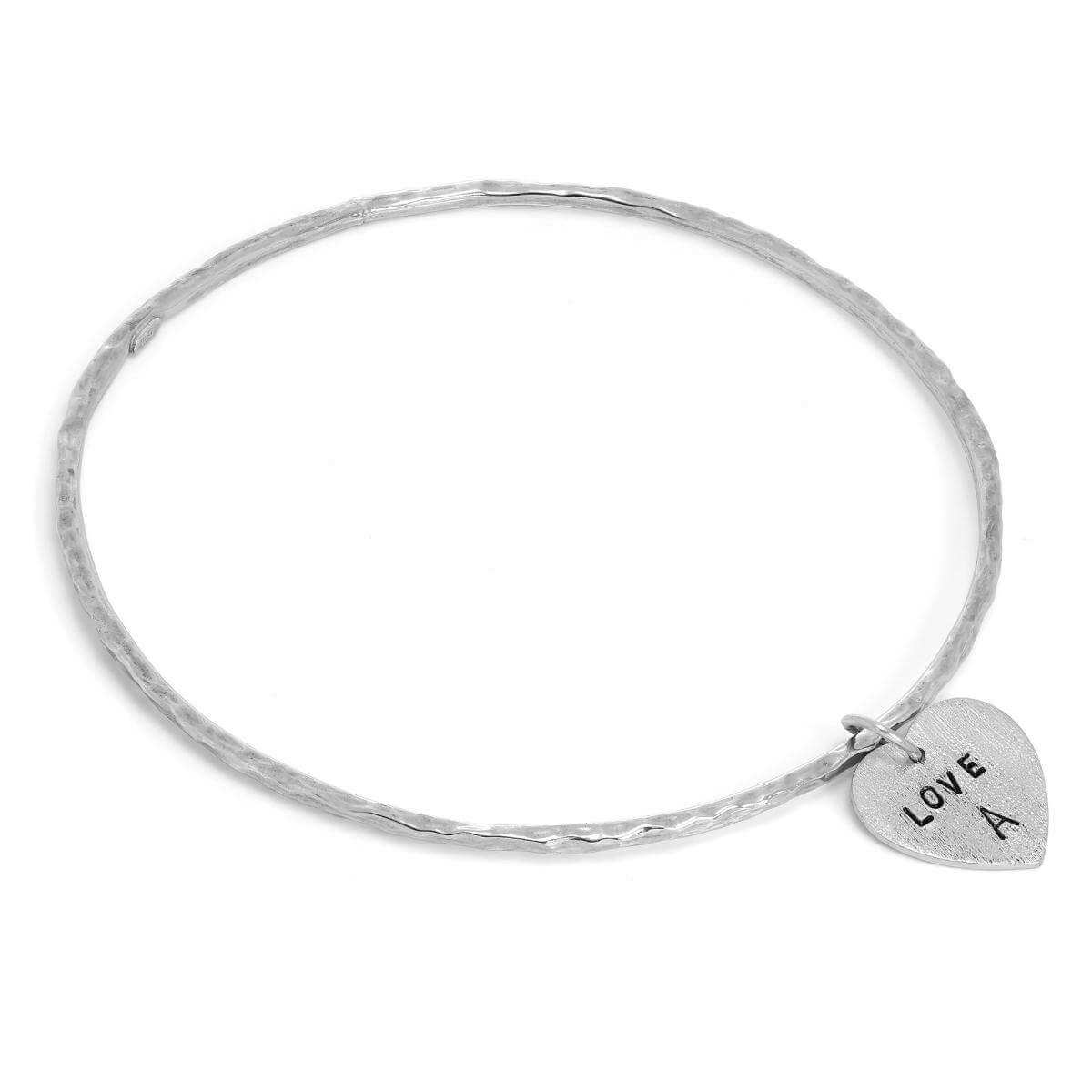 Sterling Silver Hammered Bangle with Hand Stamped Textured Heart Charm