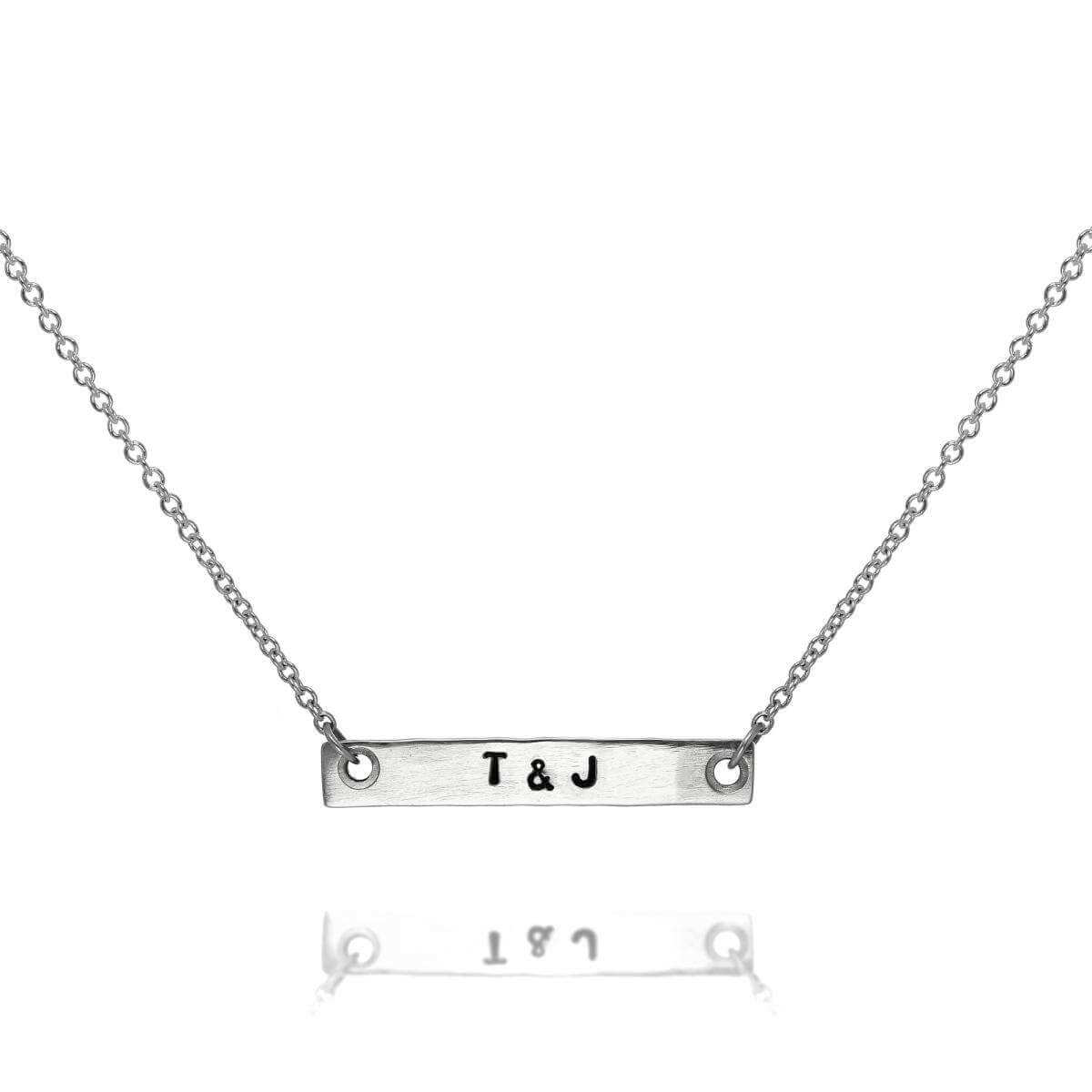Personalised Sterling Silver Matt Hand Stamped Bar Necklace