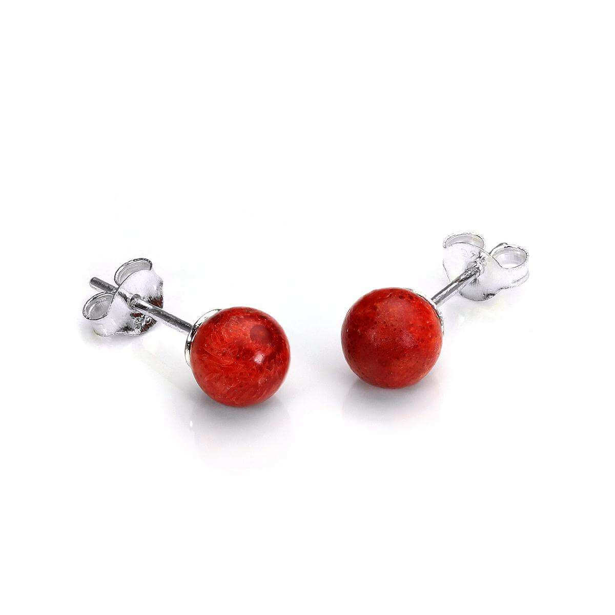 Sterling Silver Coral Stud Earrings