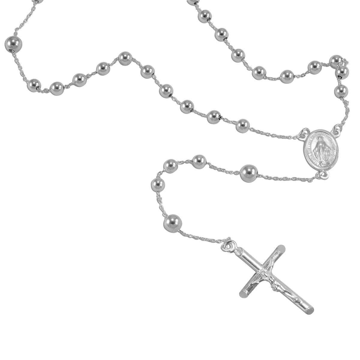 Heavy Sterling Silver Rosary Bead Necklace