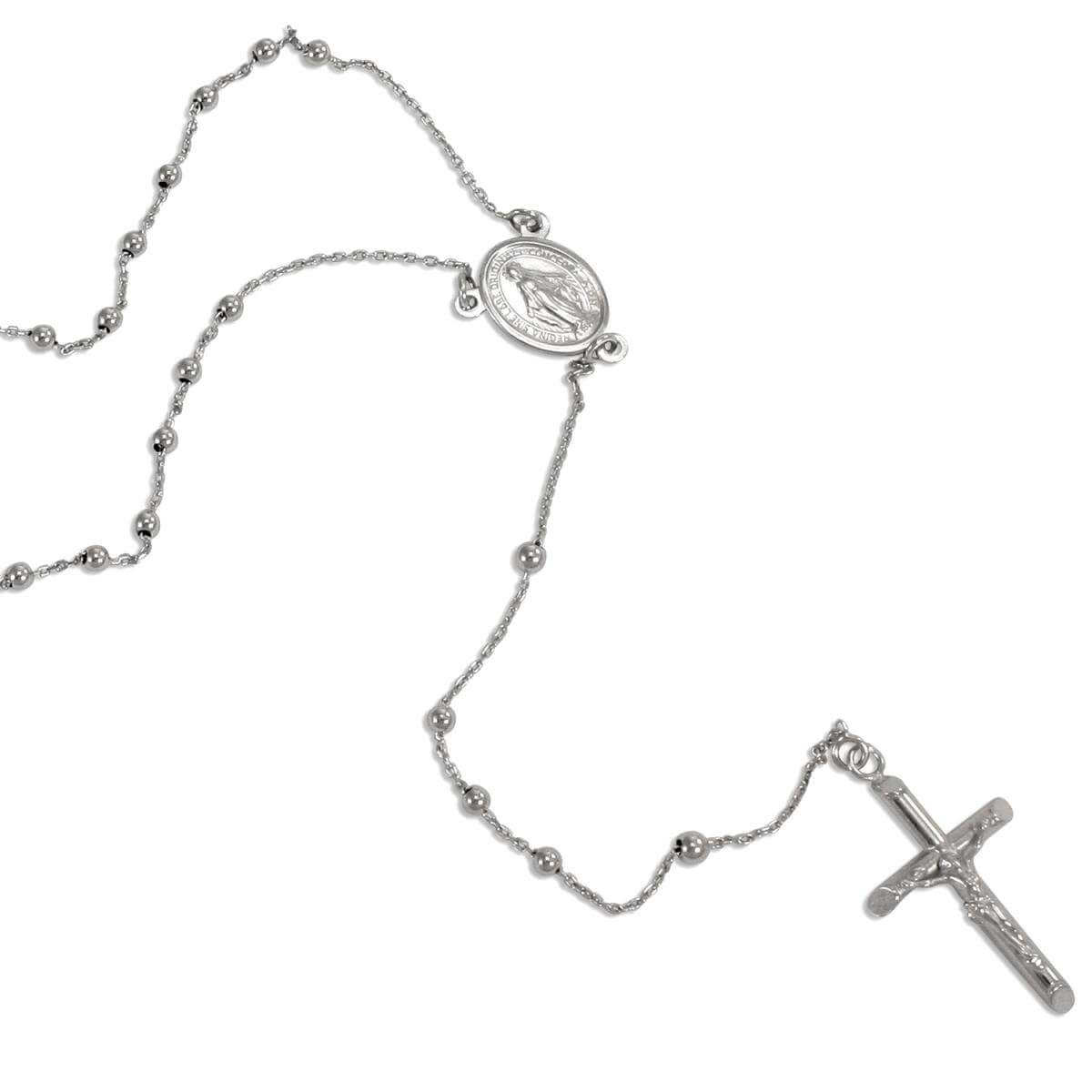9ct White Gold Rosary Necklace