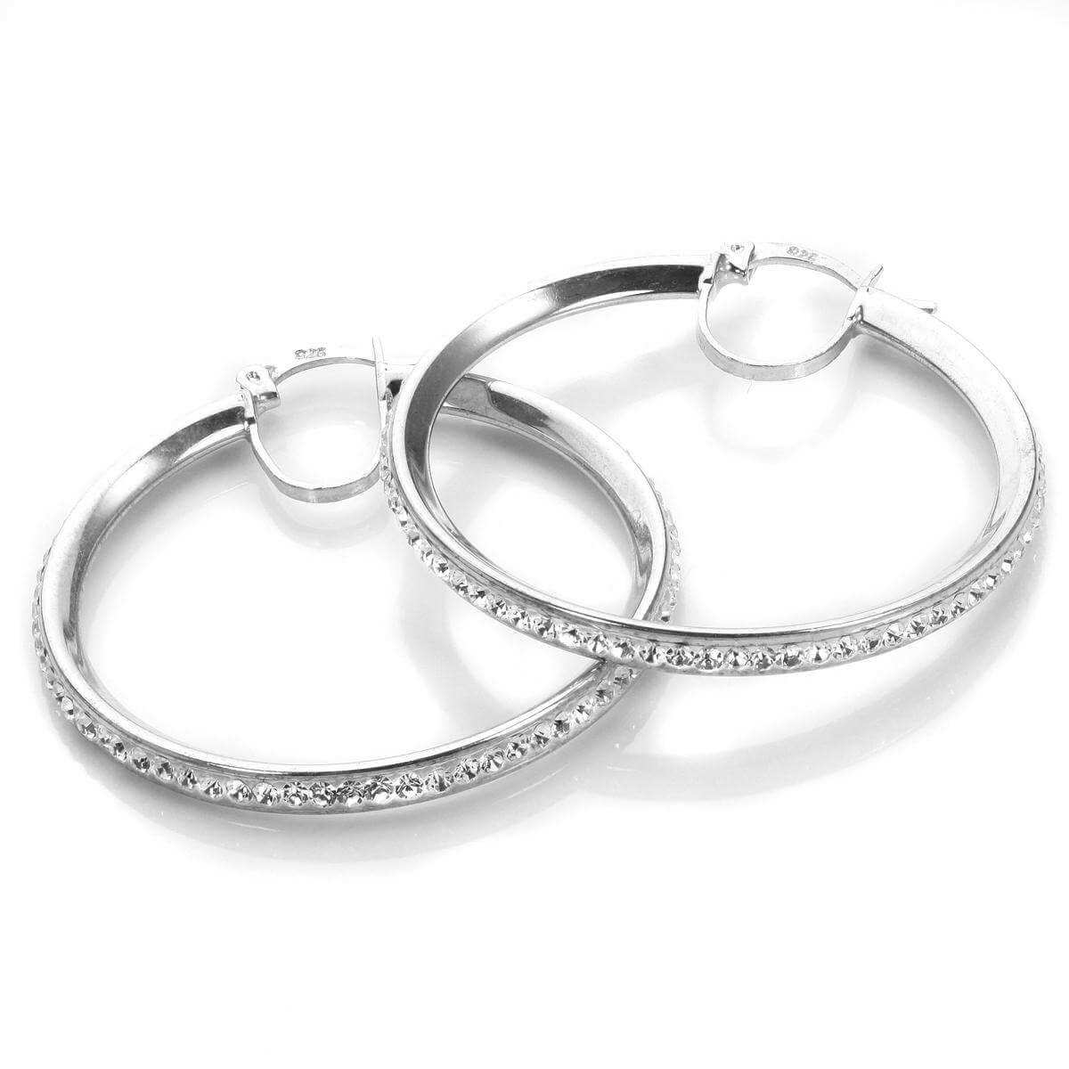 Sterling Silver Pave Crystal 33mm Hoop Earrings