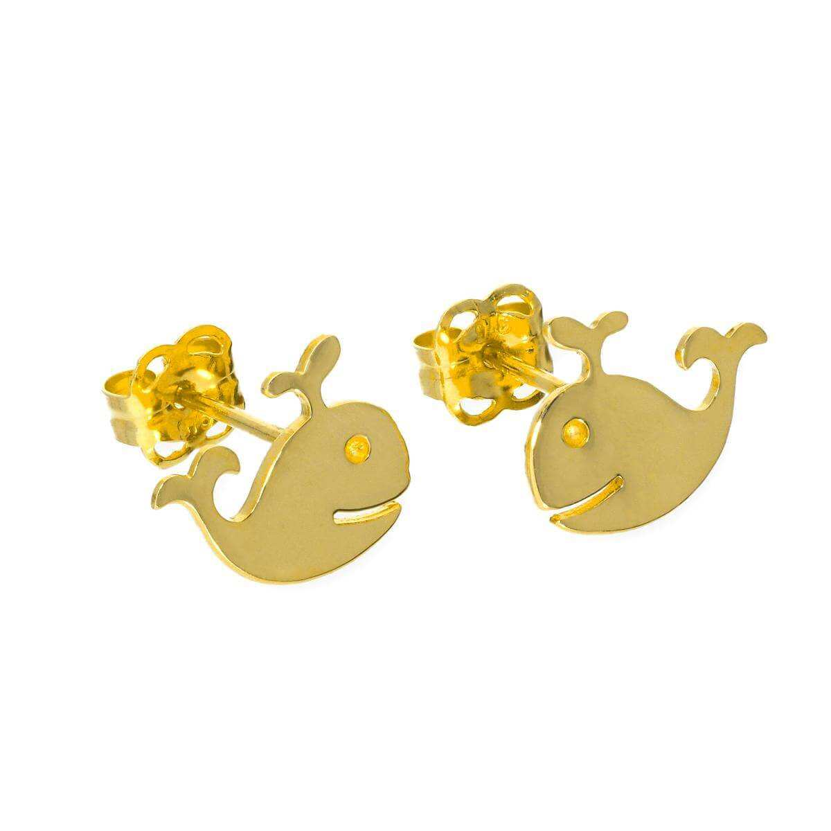 9ct Gold Whale Stud Earrings