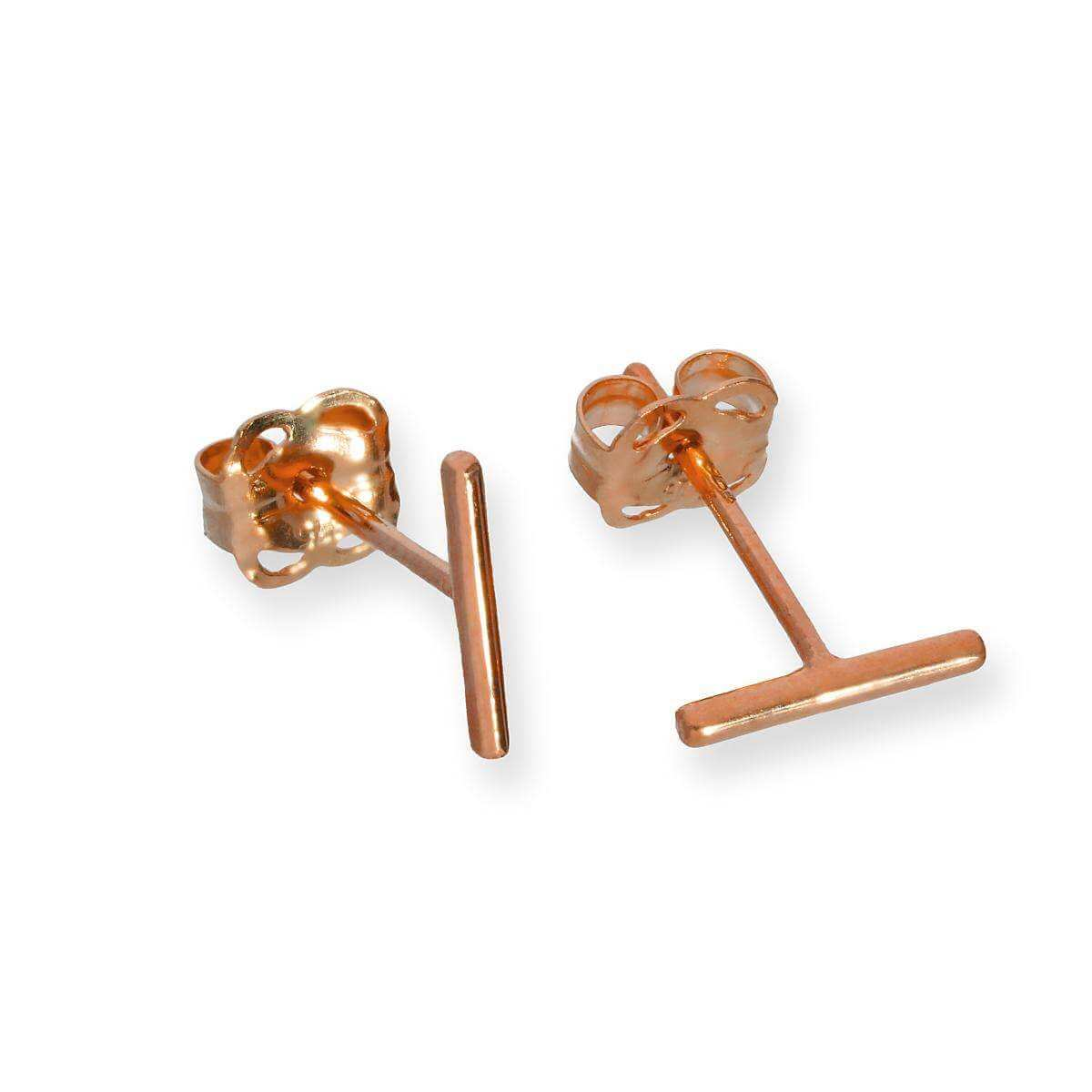 9ct Rose Gold Bar Stud Earrings