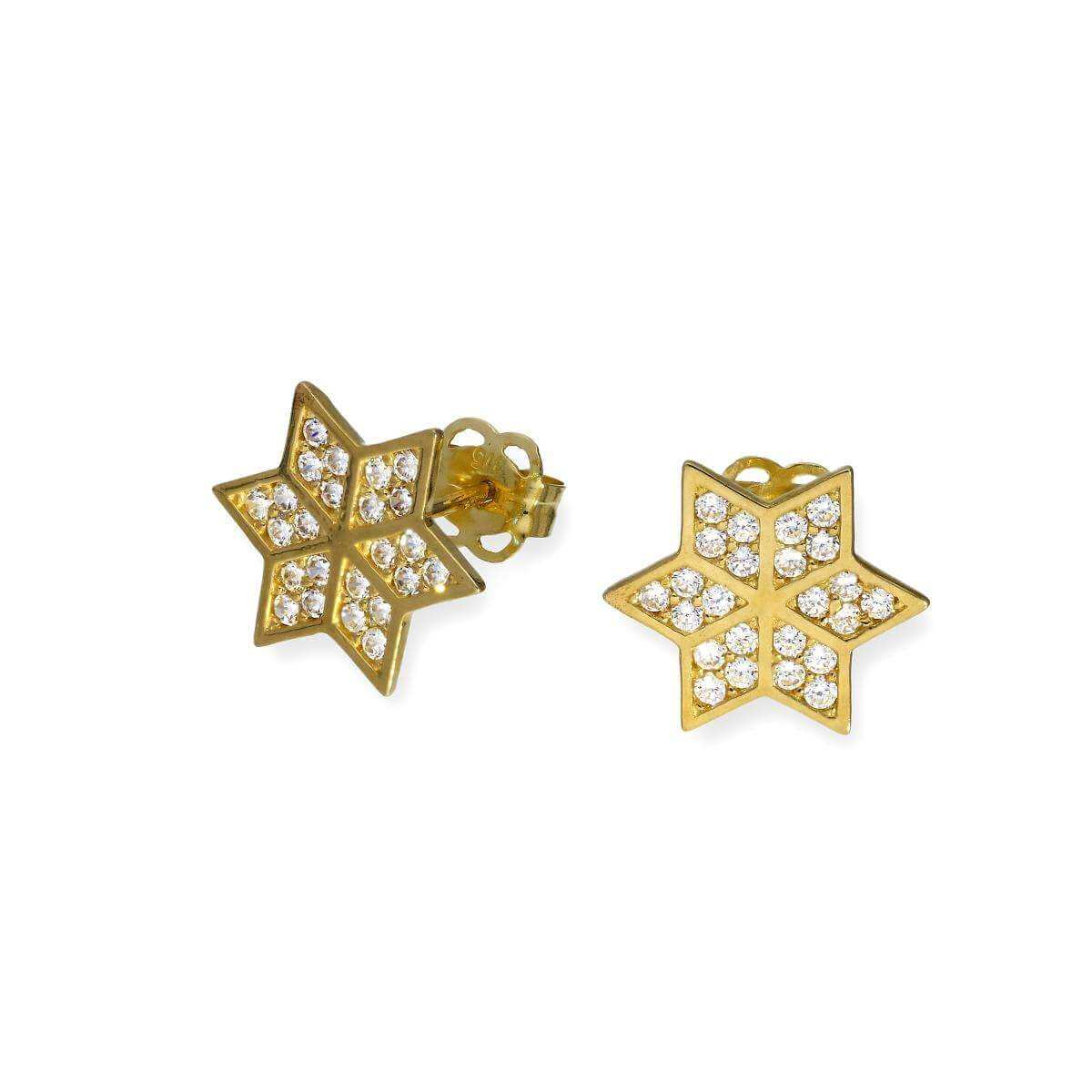 9ct Gold & Clear CZ Crystal Six-Pointed Star Stud Earrings