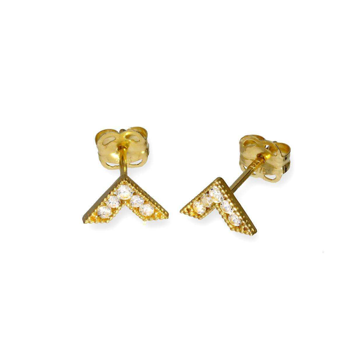 9ct Gold & Clear CZ Crystal V Stud Earrings
