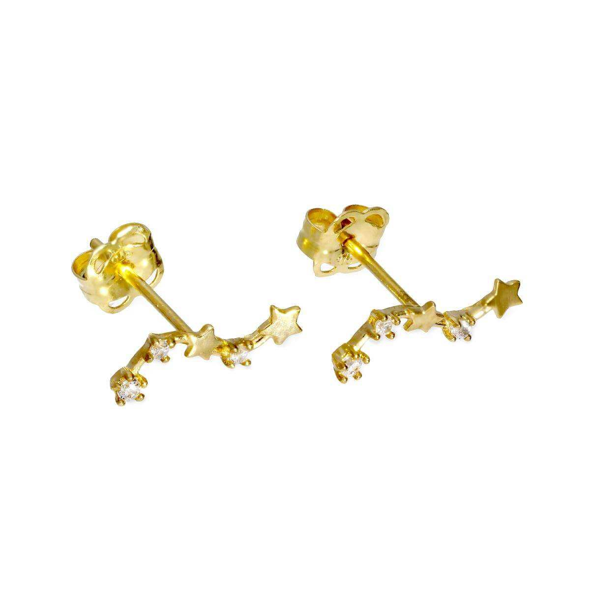 9ct Gold & Clear CZ Crystal String of Stars Stud Earrings